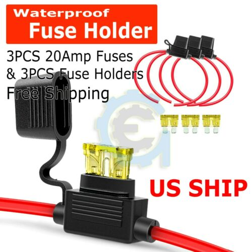 3-pack 14AWG ATN 20AMP Automotive Water-Resistant Inline Fuse Holder Blade