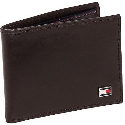 TOMMY HILFIGER Men's Brown Genuine Leather Oxford Slim Billfold Passcase Wallet