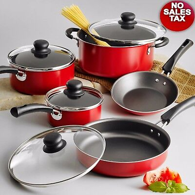 Nonstick 9-Piece Pots And Pans Cookware Set Cooking Kitchen Red, Brand NEW