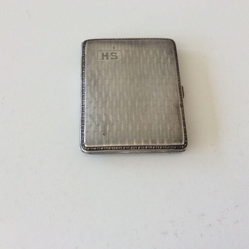"Art Deco Fully Hallmarked 800 Silver Cigarette Case Mono ""HS"" 63 Grams"