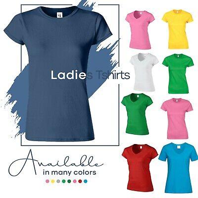 1 Ladies Girls Soft Rich Cotton Luxury Plain V-Neck T-Shirts HEAVY Cotton