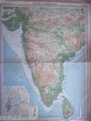 Original Antiquarian Map of Southern India & Ceylon 1922 (Sri Lanka, Indian)