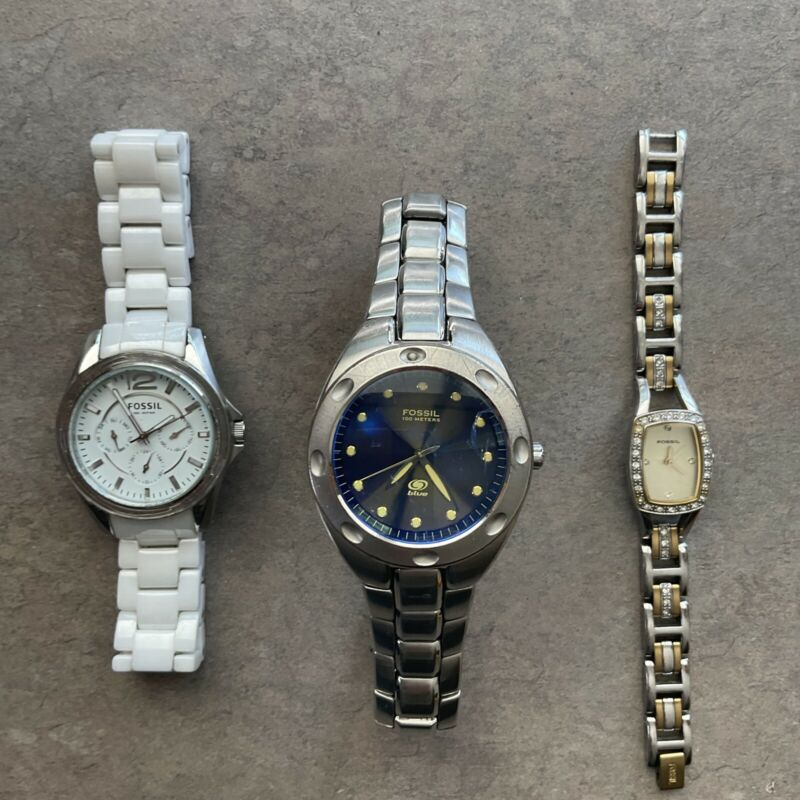 Lot of Three Fossil Watches All Three Watches Run Great Lot #85