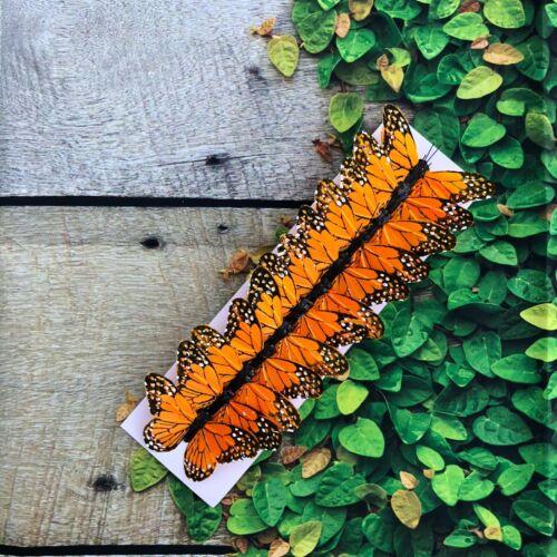 12 Feather Orange Monarch Butterflies 3inch- Artificial orange butterfly picks