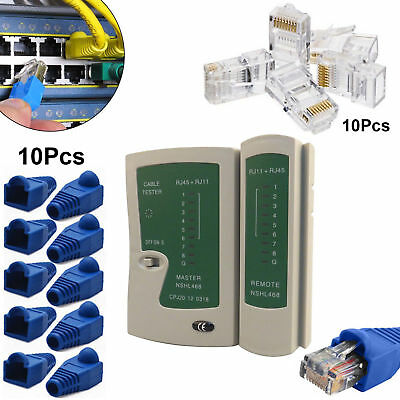 RJ45 Cat5e Cat6 Ethernet Network STP UTP LAN PC Cable Tester Tool Connector Boot
