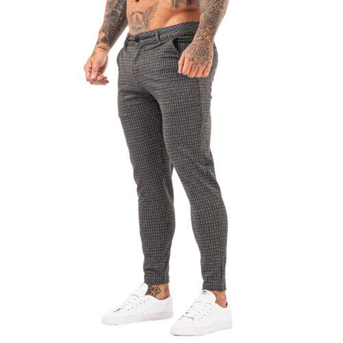 Gingtto Men Slim Fit Stretch Chino Trouser Casual Skinny Plaid Breaker Golf Pant