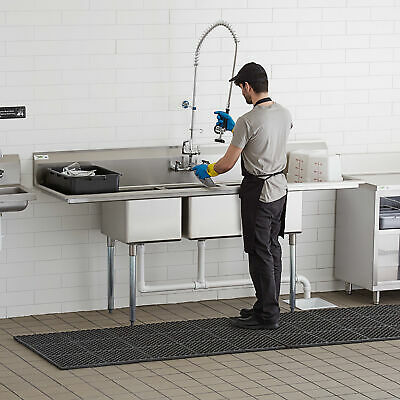 88 3 Compartment Stainless Steel Nsf Commercial Sink With 2 Drainboards