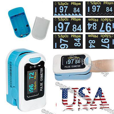 Us Seller Finger Tip Pulse Oximeter Led Blood Oxygen Monitorbagropeoledblue