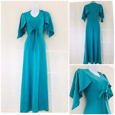 Authentic Vintage Dress Size 6-8 Green Long ABBA Style 70s Original Item Maxi