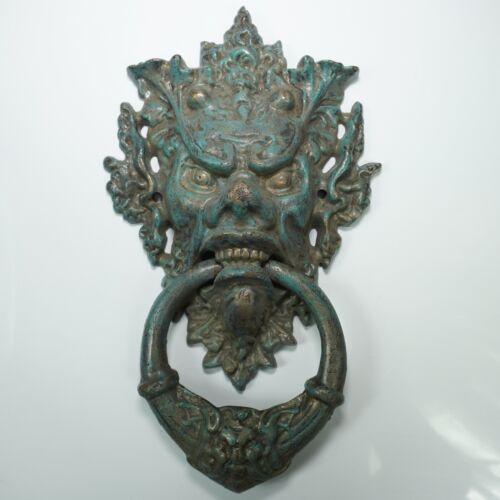 "Antique Bronze Brass Grotesque Gargoyle Figure 14.5"" 8Lb Door Knocker"