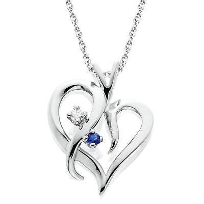 """Blue Sapphire & Diamond Heart Pendant 14 KT White Gold With 18"""" Chain"""