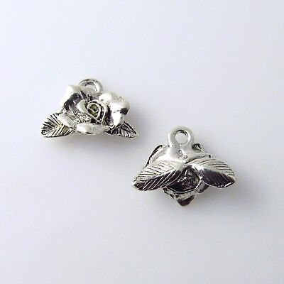 Rose Bud Flower - 5 Silver Tone Lead Free Pewter - Pewter Rose Charms