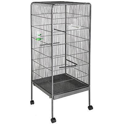 Volière, Cage à Oiseaux 146cm de haut Metallique sur Roulettes Abri pour Oiseau