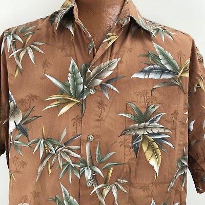 Hollis River Hawaiian Aloha Rust Bird Of Paradise Bamboo Palm Trees Floral  XLT