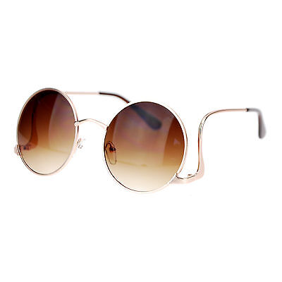 Circle Temple Sunglasses (Womens Vintage Fashion Sunglasses Round Circle Frame Low Rise)