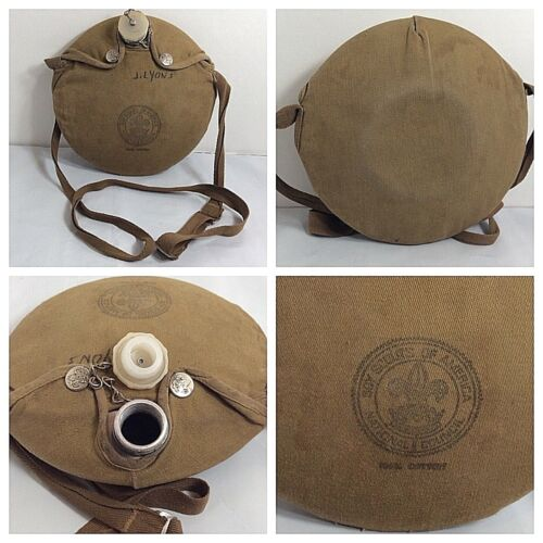 Vintage Boy Scouts of America Aluminum Canteen & Canvas Pouch Drink BSA
