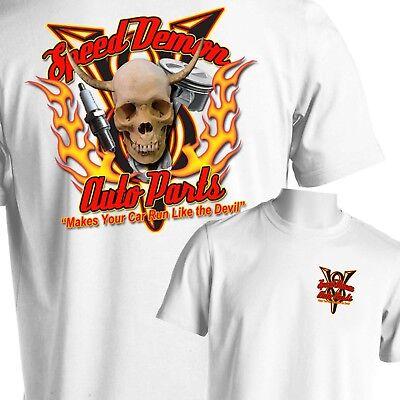 Flamed Hot Rod (Hot Rod Auto Parts T-Shirt Skull Flames Rat Rod Tattoo Small to 6X and Big Tall )