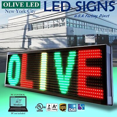 Olive Led Sign 3color Rgy 19x69 Pc Programmable Scroll. Message Display Emc
