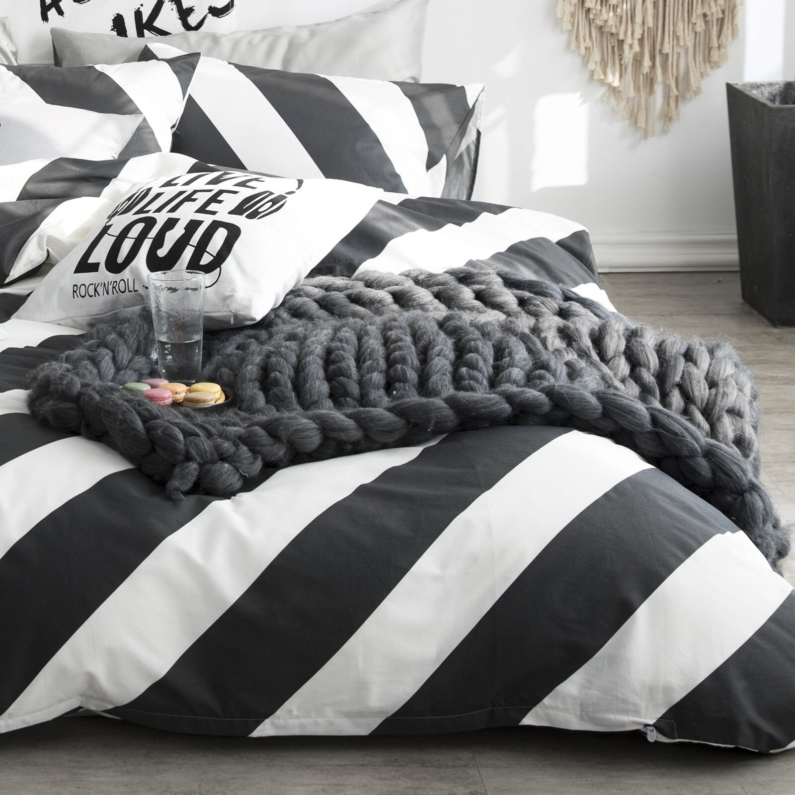 100 Cotton Black White Diagonal Stripe Duvet Cover Set Queen Bedding Set