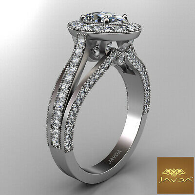 Oval Diamond Halo Pre-Set Bridal Engagement Ring GIA E VVS1 18k White Gold 1.4Ct 2