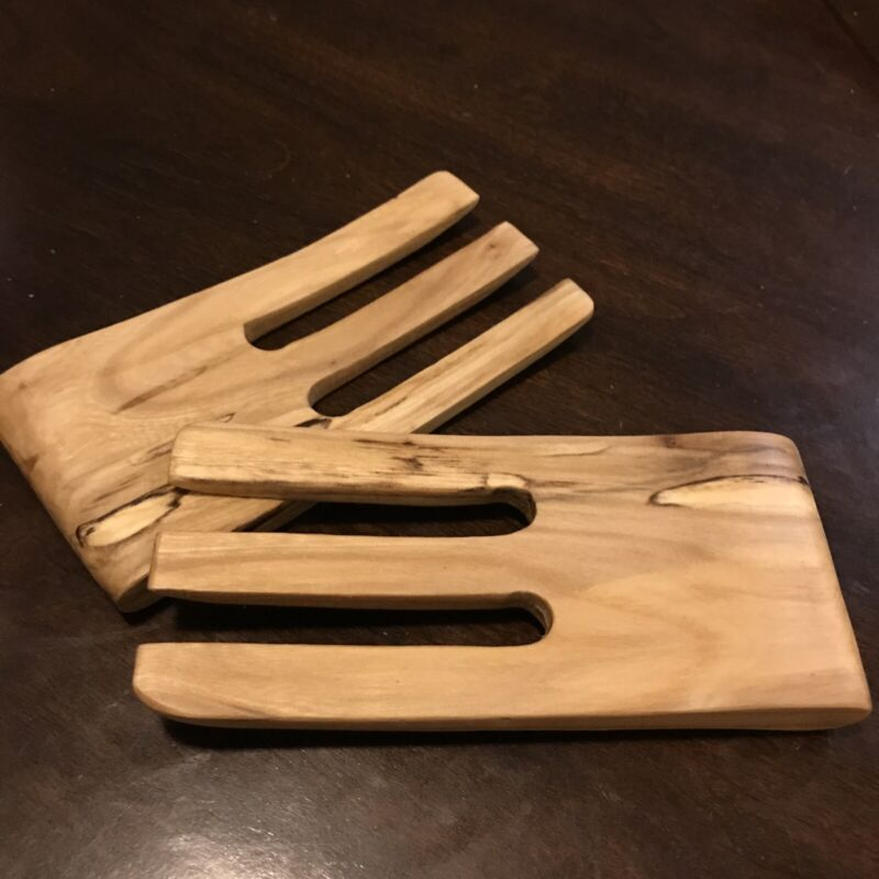 Hand Carved Wooden Salad Tongs - Birch Wood - Sustainably Made In Vermont