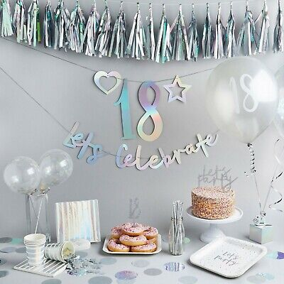 Create Birthday Banner (Iridescent Create Your Own Banner - Birthday Party, Bunting, Backdrop,Venue)