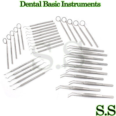 50 Instruments Basic Dental Set Mirror Explorer Plier