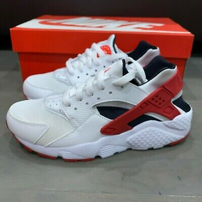 New Nike Huarache Run (GS) Youth Size 5.5Y 5.5 White Gym Red Black 654275-102