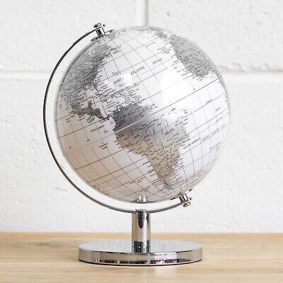 White Silver Rotating Globe Vintage Atlas World Home Decor Desk Office Ornament