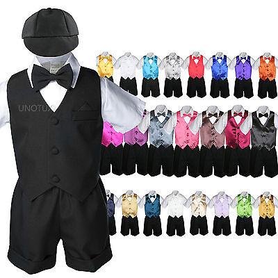 7pc Baby Boy & Toddler Formal Vest Shorts Black Suit Extr...