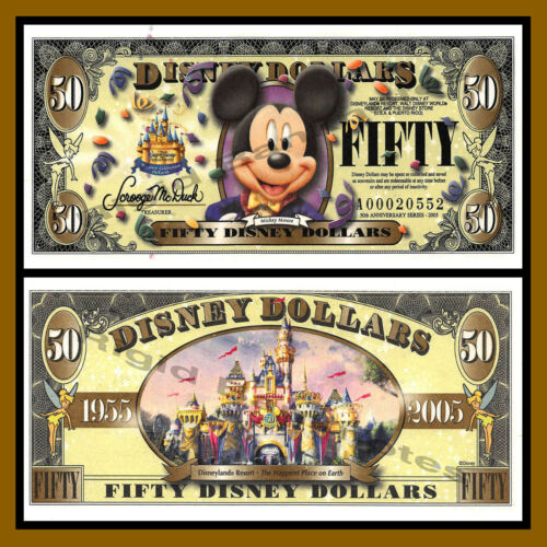 """Disney 50 Dollars, 2005  """"A"""" Series 50th Anniversary, Mickey Mouse Uncirculated"""
