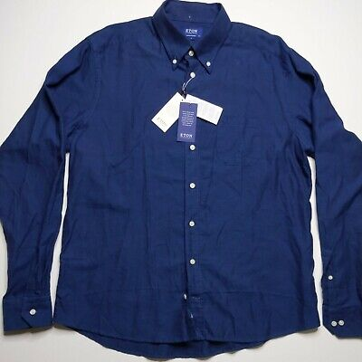 Eton Contemporary Long Sleeve Casual Button Up Shirt Men's Size 44 XL 17.5