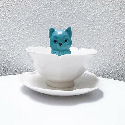 Unique vintage 50s turquoise cat tea cup ceramic kitsch novelty figurine