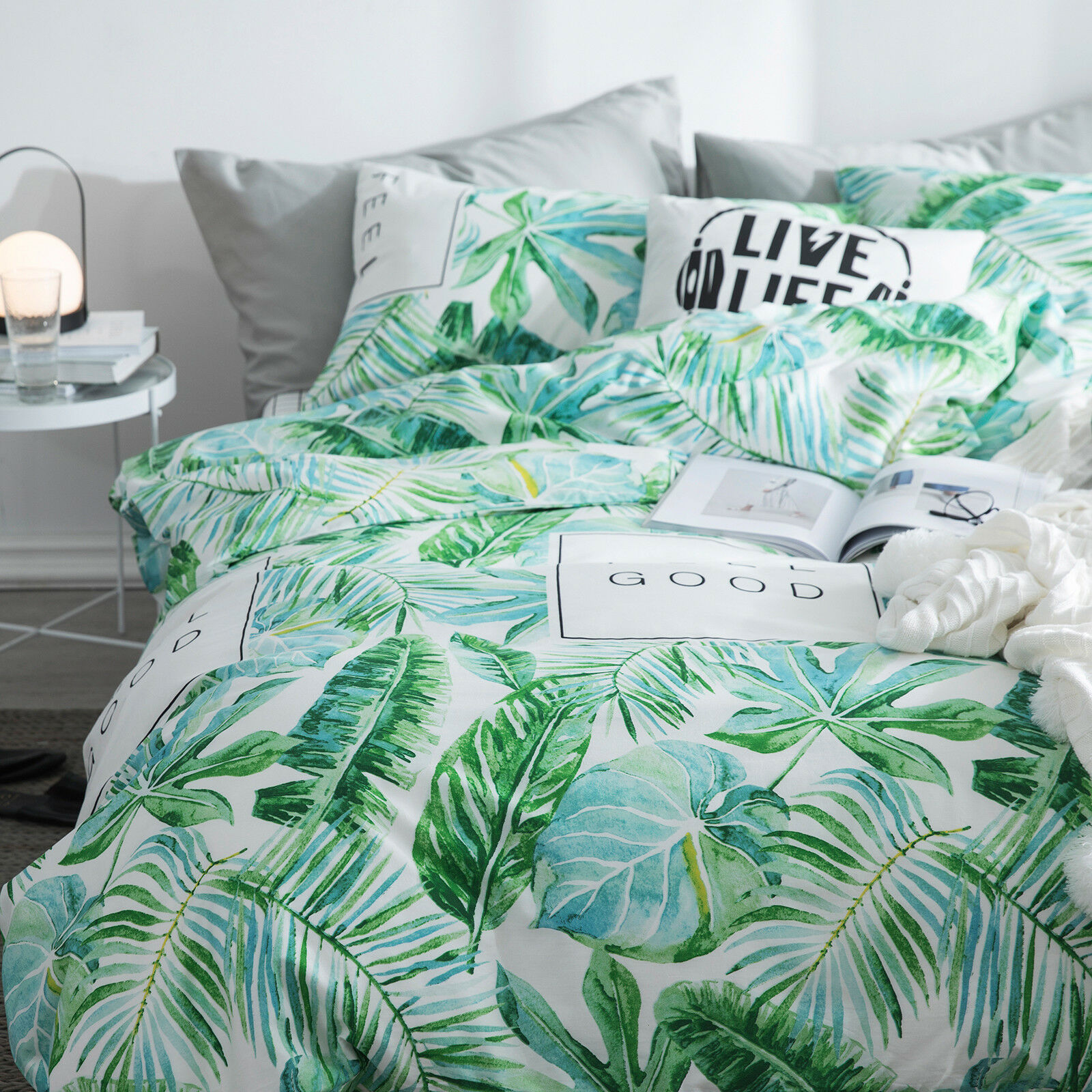 100 Cotton Tropical Palm Leaves Queen Duvet Cover Set Reversible New Ebay Check out our tropical leaf quilt selection for the very best in unique or custom, handmade pieces from our shops. details about 100 cotton tropical palm leaves queen duvet cover set reversible new