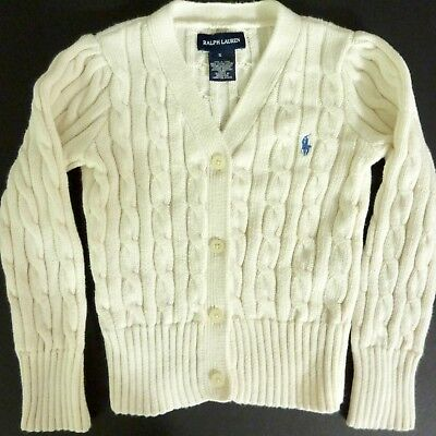 EUC RALPH LAUREN CARDIGAN SWEATER Young Boy 5 Ivory/POLO Pony Cable Knit COTTON