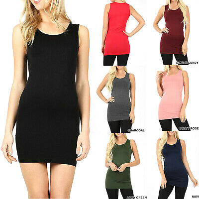 Womens Extra Long Tank Top Seamless Basic Tunic Stretch Bodycon Mini Dress Slip  - Special Dresses