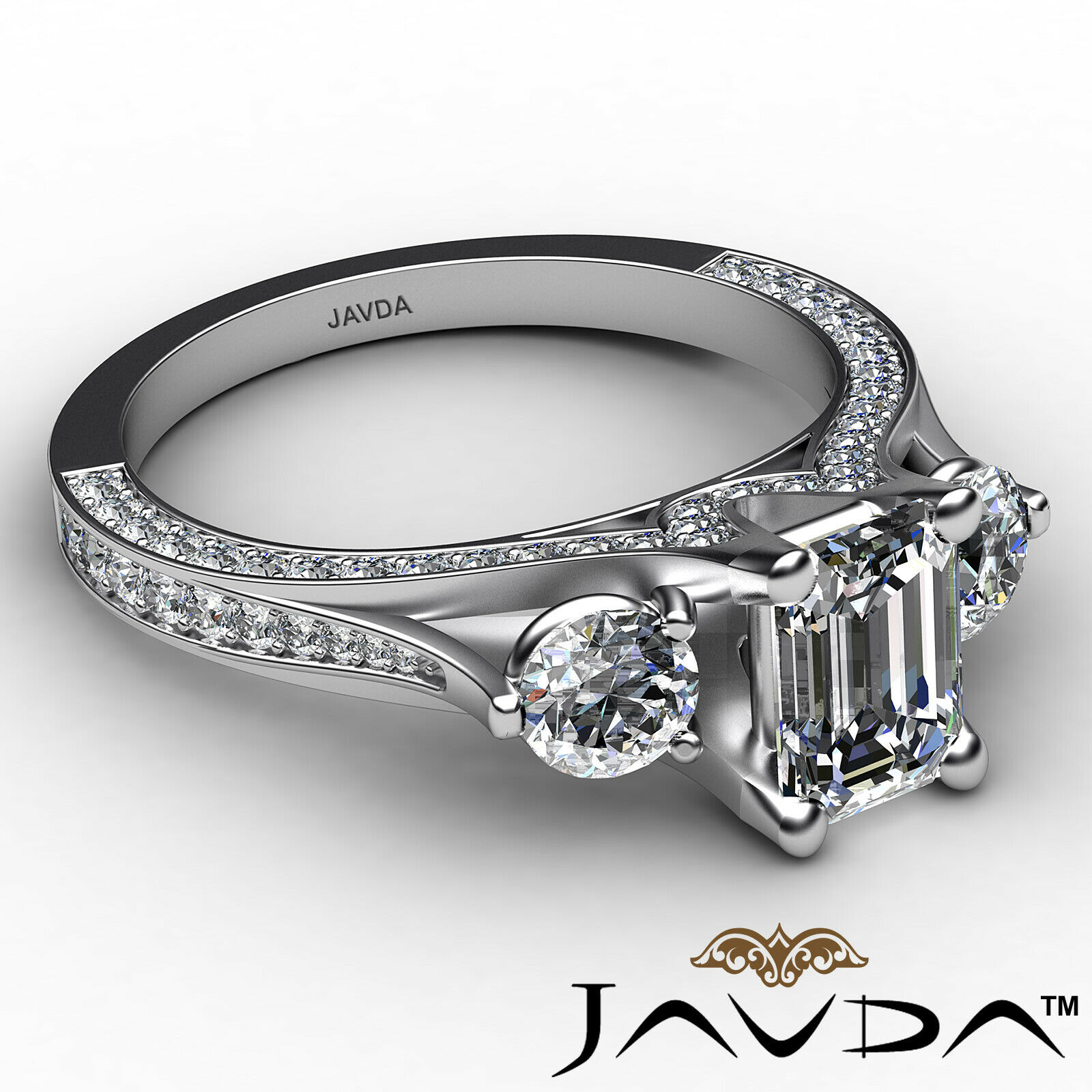 3stone Emerald Diamond Engagement Ring GIA Certified J Color & VVS1 clarity 2ctw 6