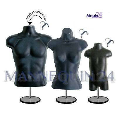3 Mannequin Torsos Male Female Toddler Black Body Forms Stands Hanging Hooks