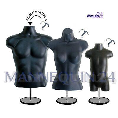 3 Mannequin Torsos Male Female Toddler Black Body Forms Stands Hanging Hooks