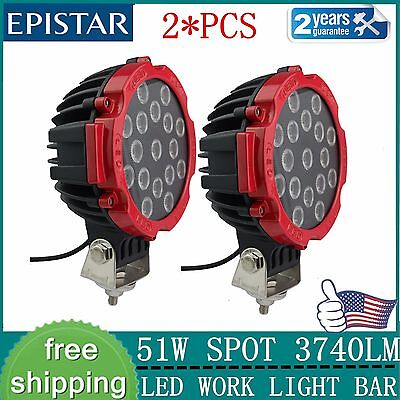 2x 7inch 51W Offroad LED Work Light Round Spot Red SUV Driving Fog Truck Jeep