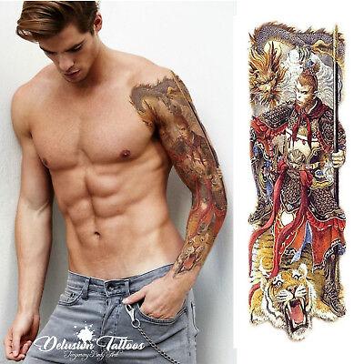 TEMPORARY TATTOO SLEEVE - SUN WUKONG, MONKEY KING, APE,  MENS, WOMENS - Monkey Tattoo