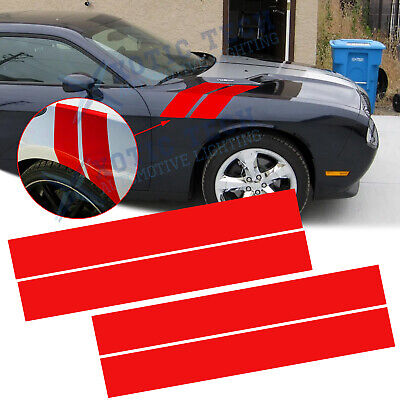 2x Red Car Hood Fender Stripe Decal Sticker For Dodge Challenger Charger Durango