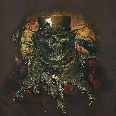 Evil Scarecrow Brown T-Shirt Haunted House Halloween Scary clown mask horror