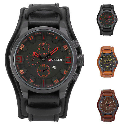 Fashion Curren Men Date Alloy Case Synthetic Leather Analog Quartz Sport Watch