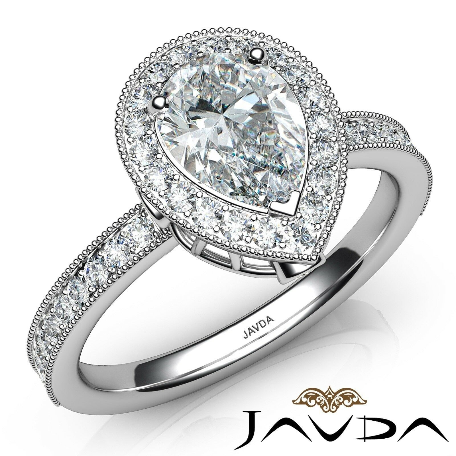 1.17ct Halo Pave Milgrain Edge Pear Diamond Engagement Ring GIA H-SI1 White Gold