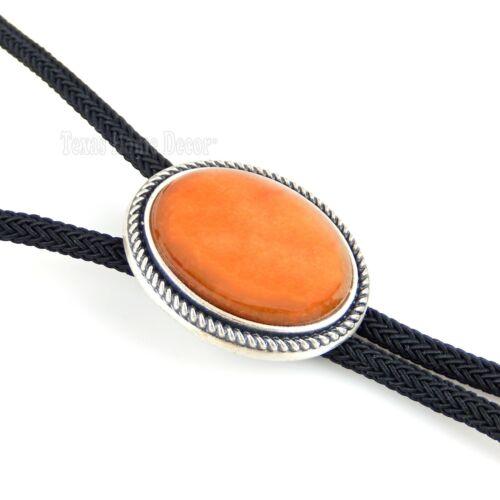 "Oval Orange Aventurine Stone Bolo Tie Real Silver Plated 36"" Adjustable Cord"