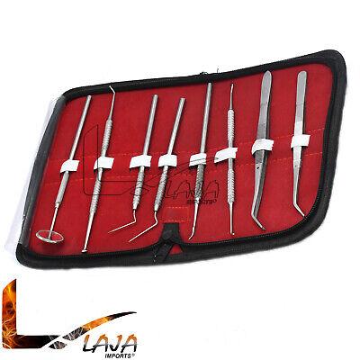 Set Dental Dentist Scaler Tweezers Instruments Pick Tool Kit Leather Case