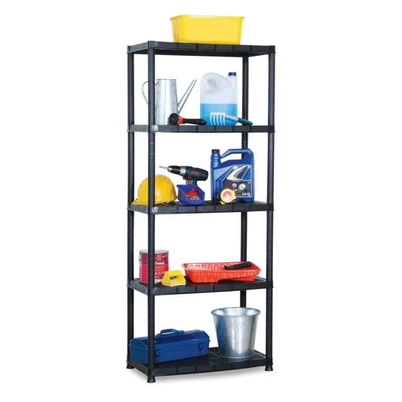 Ram Quality Products Platin 15 inch 5 Tier Plastic Storage Shelves, Black