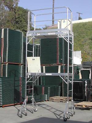 (A completed Aluminum Scaffold Rolling Tower 12' H Guard Rail U Lock CBM1290)