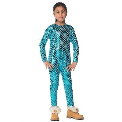 Girl Halloween Costume Diy (Child Iridescent Mermaid Fish Halloween Costume Blue Jumpsuit Ariel DIY Girl)